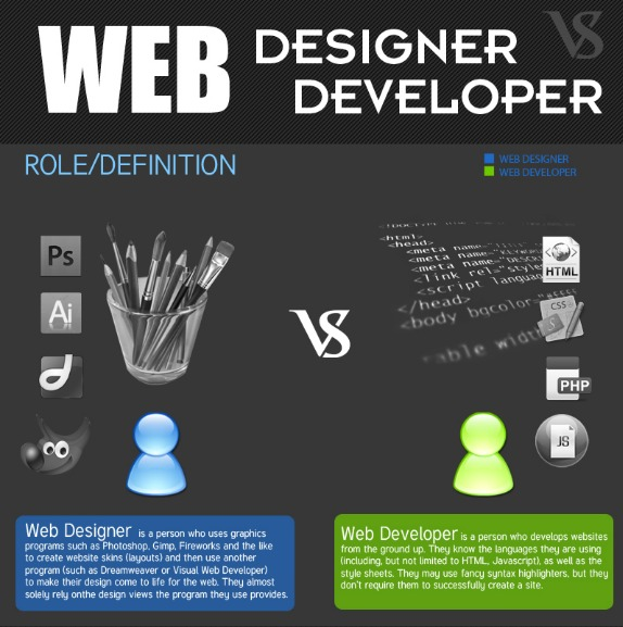 Web Designer vs Web Developer  Infographic   Downgraf