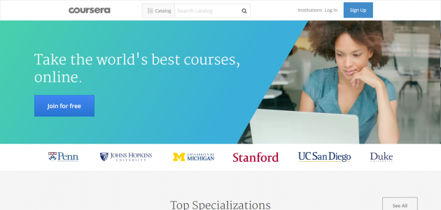 Coursera Online Courses From Top Universities. Join for Free e1481877084129 - プログラミングも英語も学べる!海外のプログラミング学習サイト14選